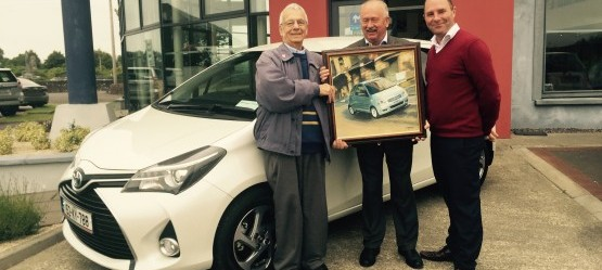 Kellihers Art Gallery!! Our loyal customer Mr John Brussell collecting his new 152 Toyota Yaris